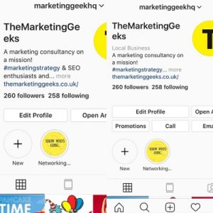 Comparison between business and personal instagram accounts The marketing geeks
